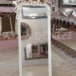 Vintage Madam Model Eskitme Beyaz Renk Ayaklı Boy Aynası-9