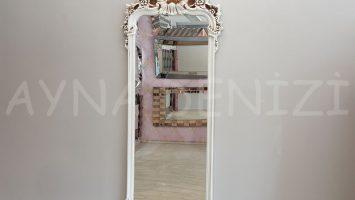 Vintage Madam Model Eskitme Beyaz Renk Boy Aynası