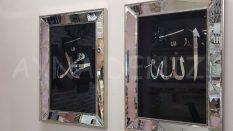 Allah C.C. Hz.Muhammed Yazılı Model Eskitme Gümüş Renk Ayna Çerçeveli Tablo