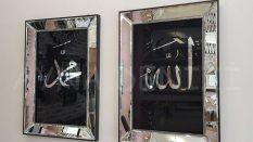 Allah C.C. Hz.Muhammed Yazılı Model Siyah Renk Ayna Çerçeveli Tablo