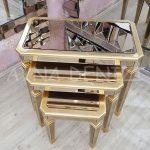 Cenova Model Altın Renk Üçlü Aynalı Zigon Sehpa Takımı-10