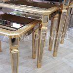 Cenova Model Altın Renk Üçlü Aynalı Zigon Sehpa Takımı-14