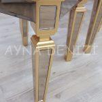 Cenova Model Altın Renk Üçlü Aynalı Zigon Sehpa Takımı-16
