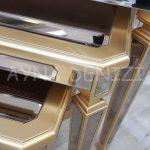 Cenova Model Altın Renk Üçlü Aynalı Zigon Sehpa Takımı-18