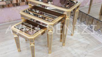 Cenova Model Altın Renk Üçlü Aynalı Zigon Sehpa Takımı