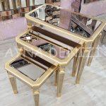 Cenova Model Altın Renk Üçlü Aynalı Zigon Sehpa Takımı-5