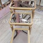 Cenova Model Altın Renk Üçlü Aynalı Zigon Sehpa Takımı-6