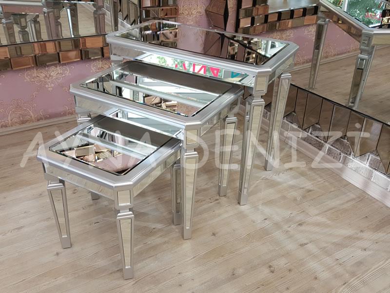 Cenova Model Gümüş Renk Üçlü Aynalı Zigon Sehpa Takımı