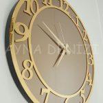 Golden Matris Bronze Model Altın Bronz Renk Dekoratif Aynalı Duvar Saati-11