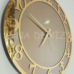 Golden Matris Bronze Model Altın Bronz Renk Dekoratif Aynalı Duvar Saati-12