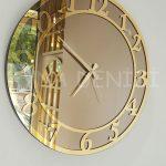 Golden Matris Bronze Model Altın Bronz Renk Dekoratif Aynalı Duvar Saati-13