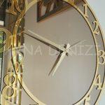Golden Matris Bronze Model Altın Bronz Renk Dekoratif Aynalı Duvar Saati-22