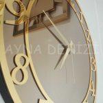 Golden Matris Bronze Model Altın Bronz Renk Dekoratif Aynalı Duvar Saati-23