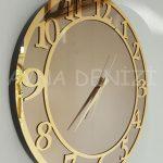 Golden Matris Bronze Model Altın Bronz Renk Dekoratif Aynalı Duvar Saati-4