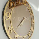 Golden Matris Bronze Model Altın Bronz Renk Dekoratif Aynalı Duvar Saati-5