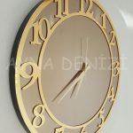 Golden Matris Bronze Model Altın Bronz Renk Dekoratif Aynalı Duvar Saati-6
