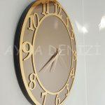 Golden Matris Bronze Model Altın Bronz Renk Dekoratif Aynalı Duvar Saati-7