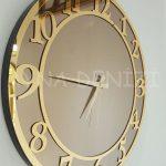 Golden Matris Bronze Model Altın Bronz Renk Dekoratif Aynalı Duvar Saati-9