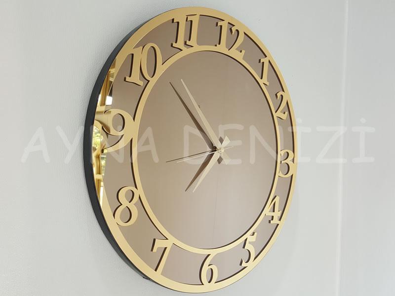 Golden Matris Bronze Model Altın Bronz Renk Dekoratif Aynalı Duvar Saati