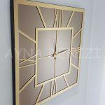 Golden Quare Bronze Model Altın Bronz Renk Dekoratif Aynalı Duvar Saati-10