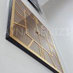 Golden Quare Bronze Model Altın Bronz Renk Dekoratif Aynalı Duvar Saati-11