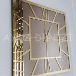 Golden Quare Bronze Model Altın Bronz Renk Dekoratif Aynalı Duvar Saati-2