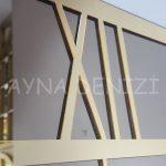 Golden Quare Bronze Model Altın Bronz Renk Dekoratif Aynalı Duvar Saati-20