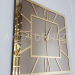 Golden Quare Bronze Model Altın Bronz Renk Dekoratif Aynalı Duvar Saati-4