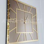 Golden Quare Bronze Model Altın Bronz Renk Dekoratif Aynalı Duvar Saati-7