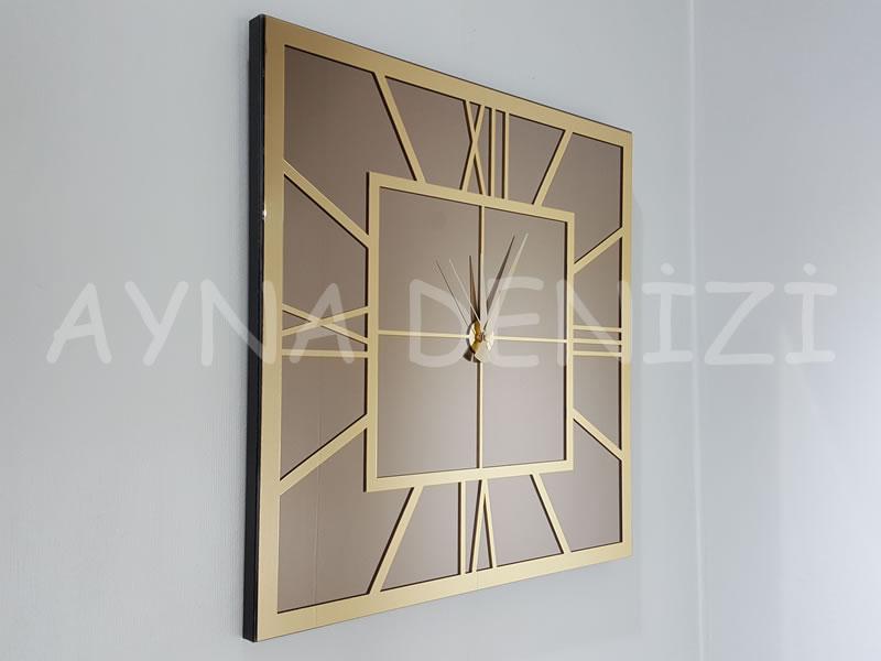 Golden Quare Bronze Model Altın Bronz Renk Dekoratif Aynalı Duvar Saati