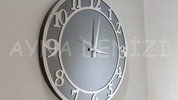 Silver Matris Smoked Model Gümüş Füme Renk Dekoratif Aynalı Duvar Saati