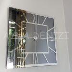 Silver Quare Smoked Model Gümüş Füme Renk Dekoratif Aynalı Duvar Saati-10