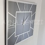 Silver Quare Smoked Model Gümüş Füme Renk Dekoratif Aynalı Duvar Saati-15