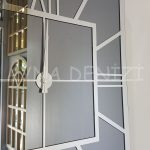 Silver Quare Smoked Model Gümüş Füme Renk Dekoratif Aynalı Duvar Saati-17