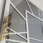 Silver Quare Smoked Model Gümüş Füme Renk Dekoratif Aynalı Duvar Saati-19