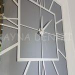 Silver Quare Smoked Model Gümüş Füme Renk Dekoratif Aynalı Duvar Saati-21