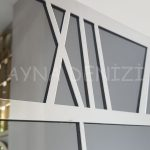 Silver Quare Smoked Model Gümüş Füme Renk Dekoratif Aynalı Duvar Saati-22