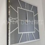 Silver Quare Smoked Model Gümüş Füme Renk Dekoratif Aynalı Duvar Saati-3
