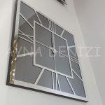 Silver Quare Smoked Model Gümüş Füme Renk Dekoratif Aynalı Duvar Saati-6
