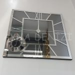 Silver Quare Smoked Model Gümüş Füme Renk Dekoratif Aynalı Duvar Saati-7