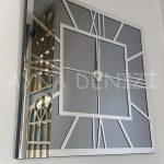 Silver Quare Smoked Model Gümüş Füme Renk Dekoratif Aynalı Duvar Saati-9