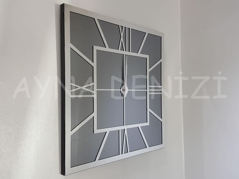 Silver Quare Smoked Model Gümüş Füme Renk Dekoratif Aynalı Duvar Saati