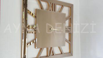 Square Golden Model Bronz Renk Dekoratif Aynalı Duvar Saati
