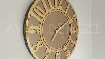 Golden Latin Bronze Model Altın Bronz Renk Dekoratif Aynalı Duvar Saati