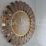 Güneş Golden Jet Bronze Model Altın Bronz Renk Dekoratif Aynalı Duvar Saati-1