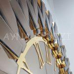 Güneş Golden Jet Bronze Model Altın Bronz Renk Dekoratif Aynalı Duvar Saati-17
