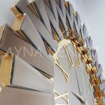 Güneş Golden Jet Bronze Model Altın Bronz Renk Dekoratif Aynalı Duvar Saati-19