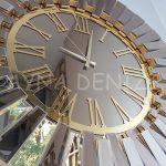 Güneş Golden Jet Bronze Model Altın Bronz Renk Dekoratif Aynalı Duvar Saati-21