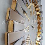 Güneş Golden Jet Bronze Model Altın Bronz Renk Dekoratif Aynalı Duvar Saati-22
