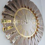 Güneş Golden Jet Bronze Model Altın Bronz Renk Dekoratif Aynalı Duvar Saati-3